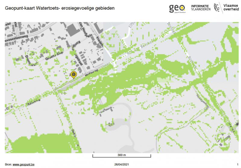 Figuur: De groene markering van de Holleweg betekent dat het een erosiegevoelig gebied is.