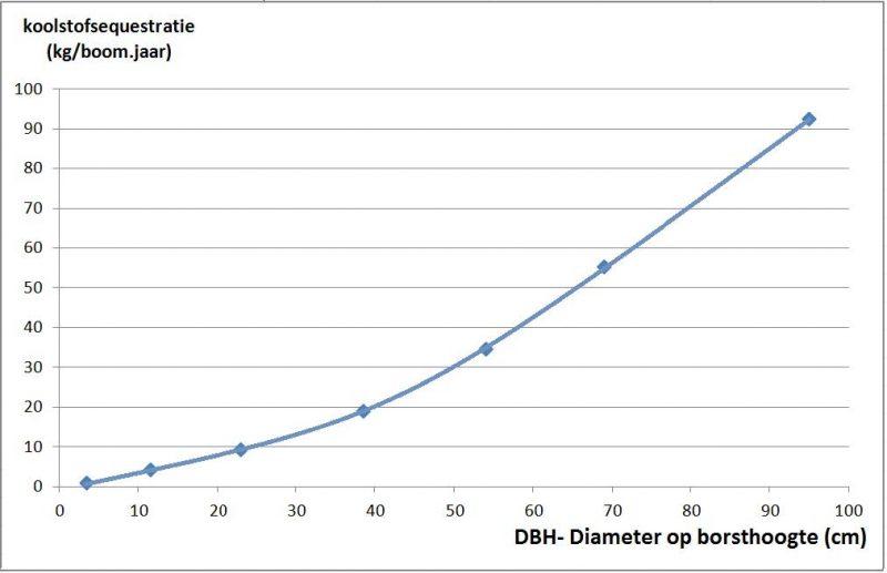Figuur: Gemiddelde koolstofvastlegging bij individuele stadsbomen in functie van de diameter, gebaseerd op Nowak (1994). Bron: Literatuurstudie VITO (2012)